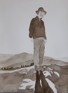 """Dreamin'"" A watercolor self-portrait by Randy Elrod"